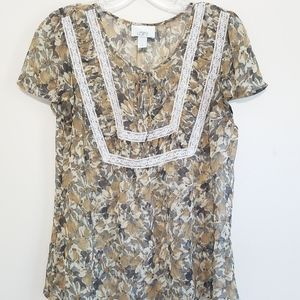 LOFT Sheer Tan Flower Blouse with Lace Detail